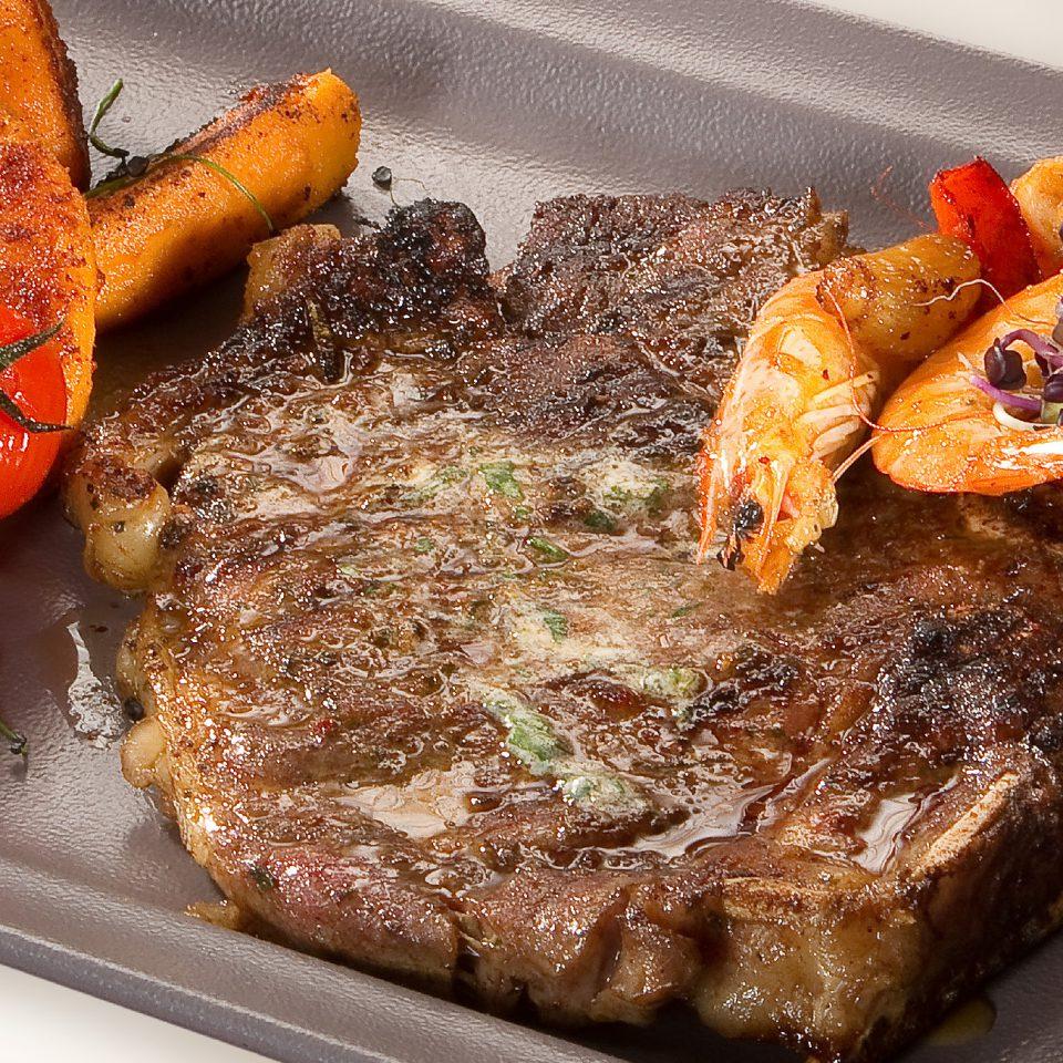 Rib eye steak kápiás scampival