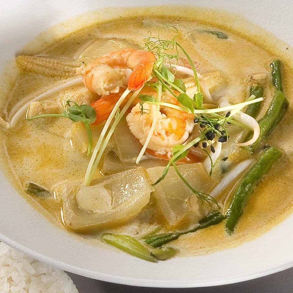 Thai green curry rákkal